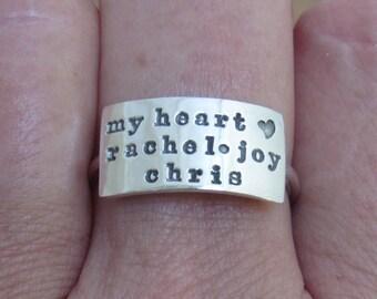 Personalized Statement Ring, Custom Name Ring, Custom Initial Ring, Sterling Silver Ring, Handmade Ring