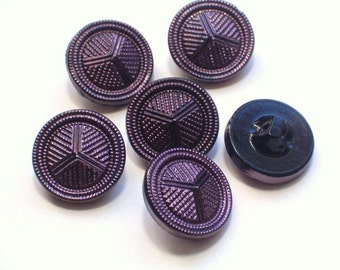 Glass Buttons Purple Luster Black Glass Vintage Buttons 21mm Set of 6 Beautiful Buttons