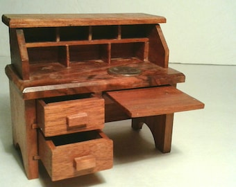 Handmade Wooden Dollhouse Furniture Desk Drawers Pull Out Opens Vintage Solid Natural Finish Wood Small Miniature Doll Child's Girl's Toy