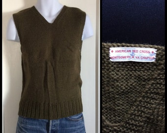Vintage 1940's WWII American Red Cross hand knit V-neck wool Sweater Vest size Small Army Green Montgomery W. VA Chapter A.R.C. arc