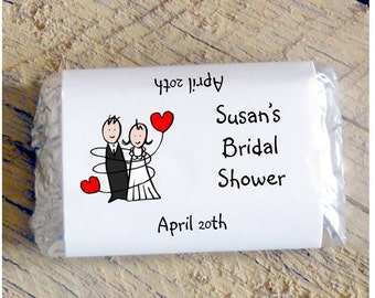 Bride ang Groom wrapped in Balloons Cartoon Bridal Shower Wedding Candy Bar Wrappers Favors Candy Wrappers