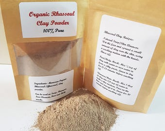 Organic Rhassoul Ghassoul Clay Powder, 100% Pure and Natural, Moroccan Lava Clay, Face mask, Shampoo, 10g, 50g, 100g, 200g or 300g
