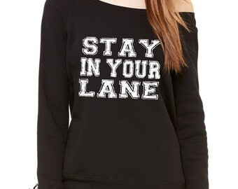 Stay In Your Lane Slouchy Off Shoulder Oversized Sweatshirt