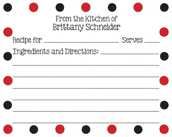 Black and Red Dots Recipe Card
