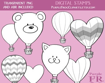 HOT AIR BALLOONS - Digital Stamp Set, Brushes. 8 images, 300 dpi. jpeg, png, abr files. Instant download.