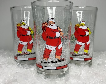 three vintage Firna Indonesia Seasons Greetings holiday drinking glasses