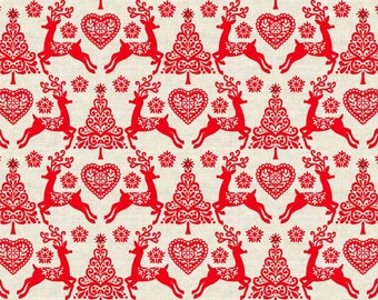 Scandinavian Christmas material - Red Christmas fabric - Scandinavian fabric - reindeer fabric - cotton fabric - Quilting fabric