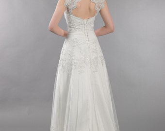 Lace wedding dress with corset back, keyhole back bolero alencon lace