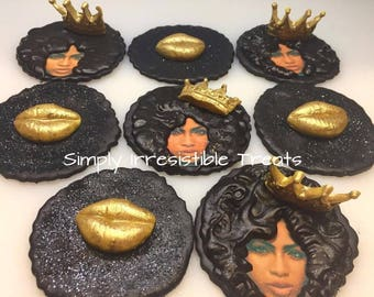 Afro Queen Fondant Cupcake / Cookie Toppers