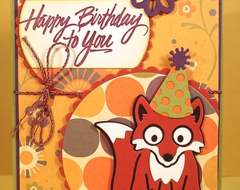 Fox Birthday Card featuring Festive Die Cut Fox in a Party Hat