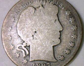 1897-S Barber Half Dollar; AG; Honest Wear; Key!