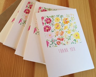 Moss Rose Watercolor Thank You Note Cards - Portulaca Floral Thank You Cards - Botanical Note Cards - Flower Thank You Cards - Set of 6