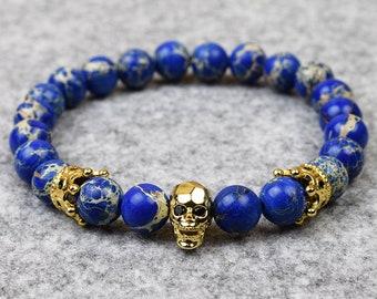 Mens Beaded Stretch Bracelet // Emperor Stone Skull Crown // Custom Sizing