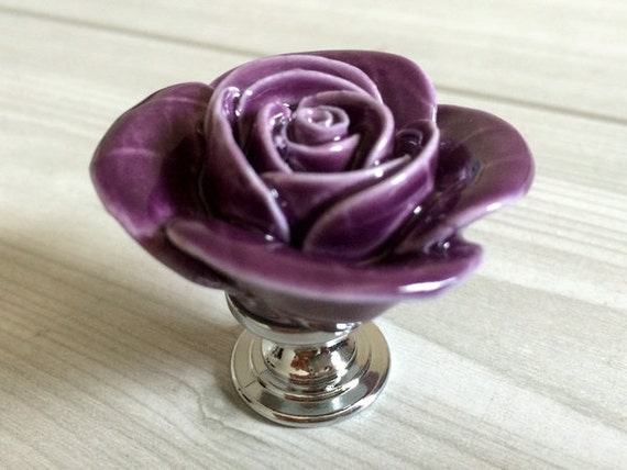 Captivating Purple Rose Flower Cabinet Door Knobs Floral Dresser Knobs