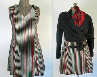 Mod Striped Mini Jumper Dress // Young Edwardian 1960s 1970s Velveteen Stripes Party Dress