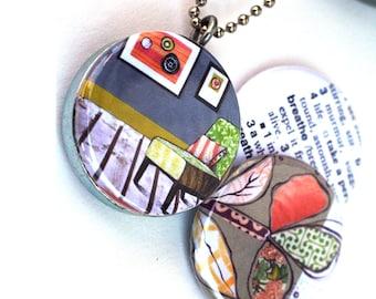Breathe Magnetic Necklace - Simplicity Inspiration Jewelry, Eco Friendly Recycled Locket Necklace, Polarity Locket, TinyArtbyJMullin Artwork