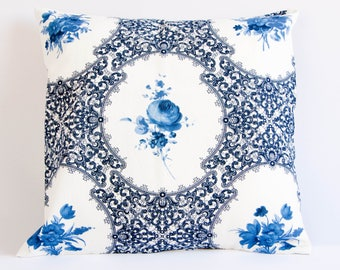 Blue floral pillow cover, blue and white cushion cover, blue rose pillow cover, romantic throw pillow, botanical