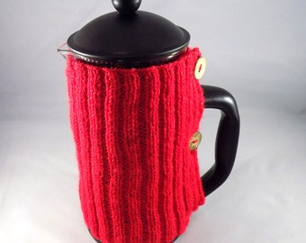 CAFETIERE Cosy (Cozy) - Hand Knitted - French Press Cover - Coffee Cover - Christmas Red