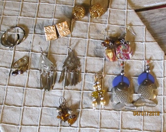 Vintage Lot of 9 Different Pairs Goldtone Gold Pierced Earrings - Dangle Brass Fish - Hoops- Bohemian Style & More