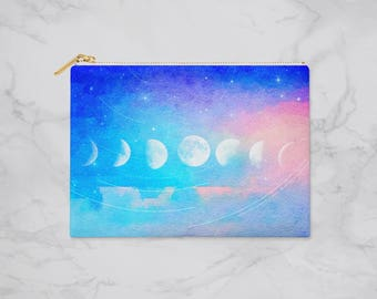 Moon Phase Pencil Case, Planner Accessories, Planner Pouch, Pencil Pouch, Zipper Pouch, Pouch, Makeup Bag, Cosmetic Bag, Bridesmaid Gift