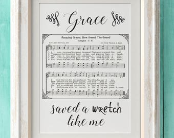 Amazing Grace - Hymn Print - Hymn Art - Hymnal Sheet - Home Decor - Music Sheet - Gift - Instant Download - Faith - Inspiration