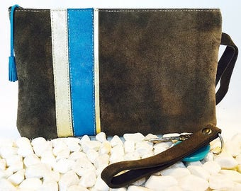 Suede lined taupe linen pouch