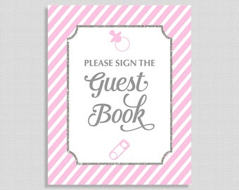 Please Sign The Guest Book Shower Table Sign, Pink, Gray Stripe Baby Shower Sign,  Baby Girl, INSTANT DOWNLOAD