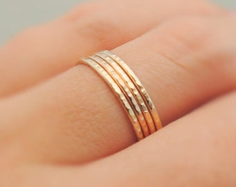 Gold Rings or Rose Gold Rings super thin band gold stackers sparkly ring stacking ring gold midi ring 14k gold filled thumb ring