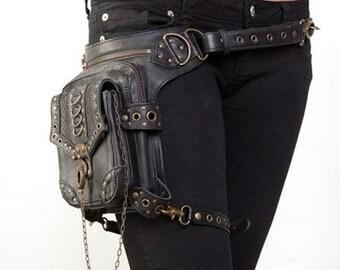High Quality Unisex PU Leather Motorcycle Rider Hip Leg Belt Bum Waist Holster Bags Punk Rock Messenger Shoulder Cross Body Bag