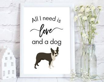 Boston terrier gifts, boston terrier art, boston terrier print, boston terrier wall decor, dog lover gift, dog,  various sizes available.