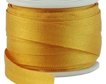 11 Yds (10 M) Embroidery Silk Ribbon 100% Silk 7mm - Orange Yellow -By Threadart