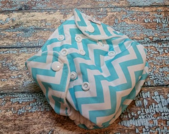 Newborn AI2 Cloth Diaper Natural Cotton Aqua Chevron Made to Order All in Two PUL