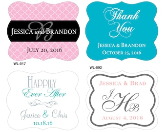 84 - 2.5 x 2 inch Die Cut Personalized Waterproof Mini Wine Bottle Labels - hundreds designs to choose - change designs any color or wording