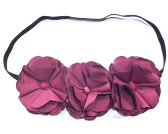 Elastic headband made of 3 flowers Burgundy fabric
