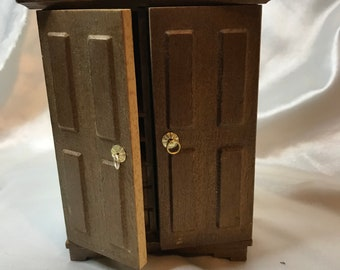 Lovely, Vintage, Wooden, Like New, Doll House Armoire