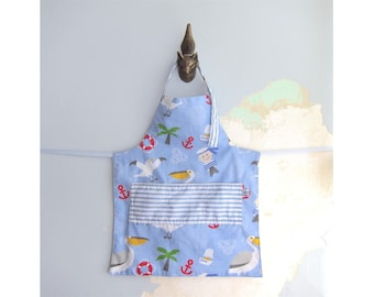 Toddler Apron with pockets - Nautical