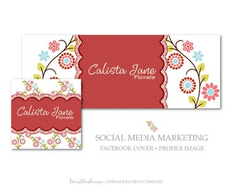Facebook Cover,Profile Image,Social Media Marketing-Floral,Daisies,Swirls,Leaves-Red,Yellow,Blue-Facebook Storefront
