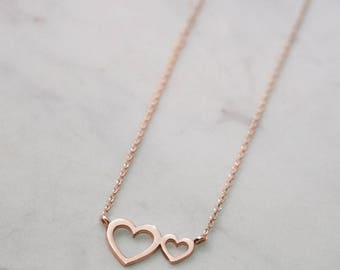 Double Heart Necklace, Rose Gold Heart, 14K Gold Necklace, Rose Gold, Women's Necklace, Gift For Mom, Dainty Heart Necklace, Gold Love Heart