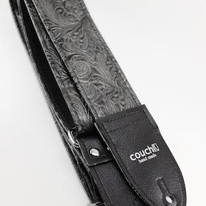 Western Guitar Strap, Black Graphite Color, Vegan Hand Made in California Yeah