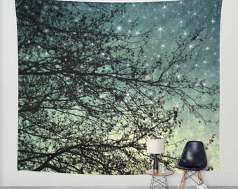 wall tapestry, oversized wall art, forest tapestry, tree tapestry, wall tapestry, nature tapestry, star tapestry, blue decor
