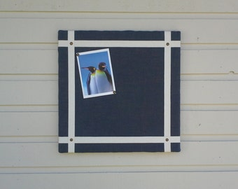 Burlap Bulletin Board with a Nautical look, accented with twill tape and gold upholstery tacks, dorm room, office, kitchen or cabin decor