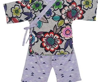 Kids Kimono - BRIGHT ACUPULCO - Japanese pajamas loungewear kimono outfit pajamas Jinbei