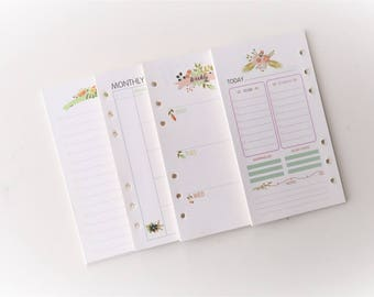 A6 Floral theme Planner Inserts /Weekly Inserts /Monthly Inserts/Daily grid/To do list/