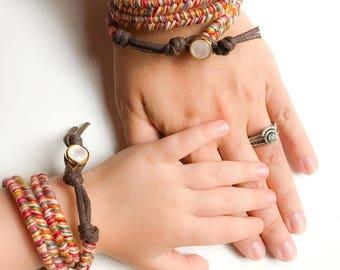 Mommy Daughter Bracelet, Boho Baby Girl Gift, Mommy and Me Bracelet, Fall Jewelry, Autumn Jewelry, Boho Wrap Bracelet, Boho Mom Gift