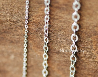 Silver Flat Oval Cable Chains, Real Rhodium plated Brass Tiny Chains, 1.2/ 2/ 2.8mm Thin Chains (#LK-001)/ 1 Meter=3.3 ft