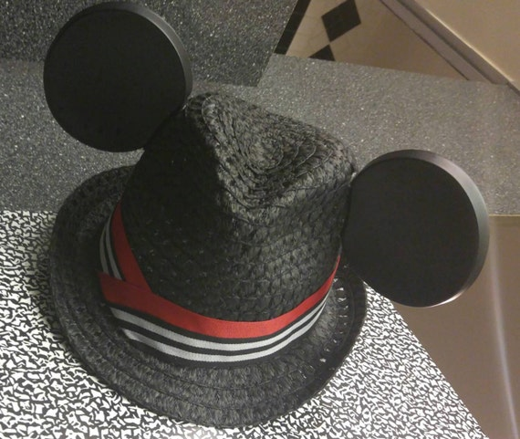 Mickey Ears. Mickey Mouse Fedora Hat. Original Disneyland Hat. Mickey Mouse Ears. Custom Disney Hat. Black Red White
