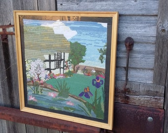 Vintage Tapestry of a Cottage Pond Still Life