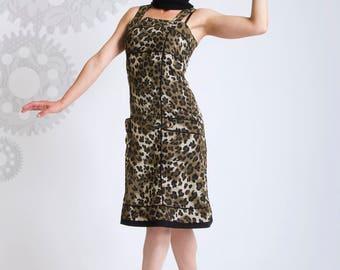 SALE!!! Army dress//Leopard dress//Glamourous pin Up//Animal print//Midi dress//Summer robe//Retro fashion///EYELET ArmyLeo///MIMISAN
