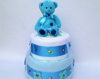Two Tier Blue Nappy Cake