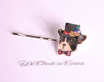 French bulldog hairpin, with a top hat